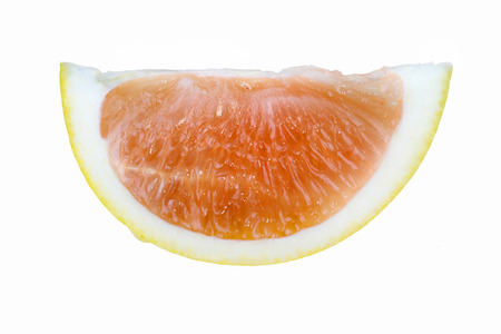 pith: Grapefruit segment isolated on white background showing rind pith and flesh of fruit