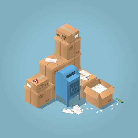 registered mail: Vector isometric mail delivery concept illustration. Stacks of parcel boxes of different sizes, letters, mail office box, open box, adhesive tape and paper knife.