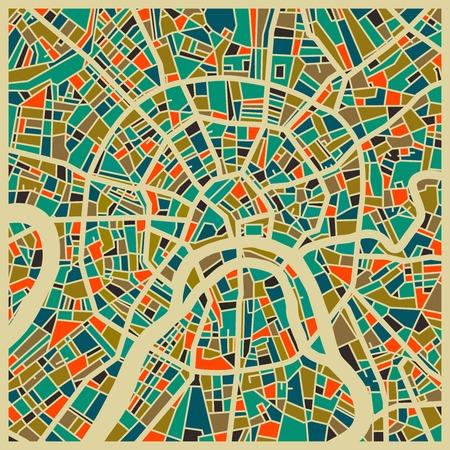 Moscú mapa vectorial. base de colorido diseño de la vendimia para la tarjeta de viaje, publicidad, regalo o un cartel.