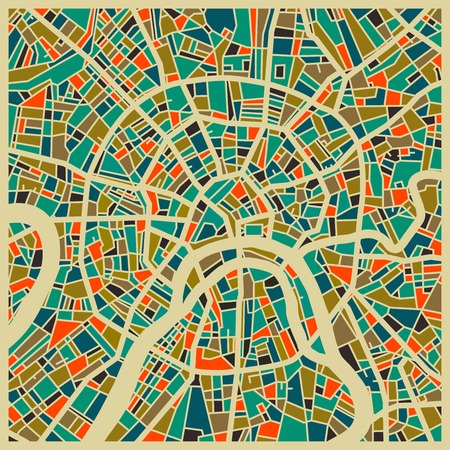 Moscow vector map. Colorful vintage design base for travel card, advertising, gift or poster.