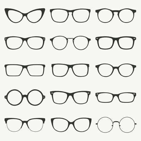 eye glasses: Glasses silhouette vector set. Collection of different of rim glasses types - round, square, cat eye glasses. Different style - hipster, retro, vintage, modern, classic.
