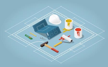 paint roller: Isometric vector apartment room renovation illustration. Toolbox set: blueprint plan of room, buckets with paint, paint roller, helmet, hammer, nails, knife pencil. Repair and construction concept.