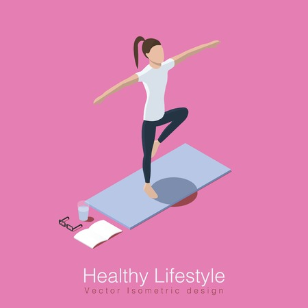 Isometric vector illustration concept of healthy life style. Woman does yoga workout, shes balancing on one leg on yoga mat, glass of water, training diary and her glasses are over the mat. Illustration