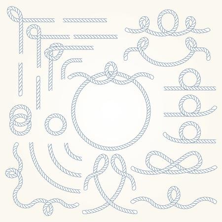impostati Rope bordi di vettore nautico elementi. Isolato. Design Marine per il poster marinaio, t-shirt, carta o web.