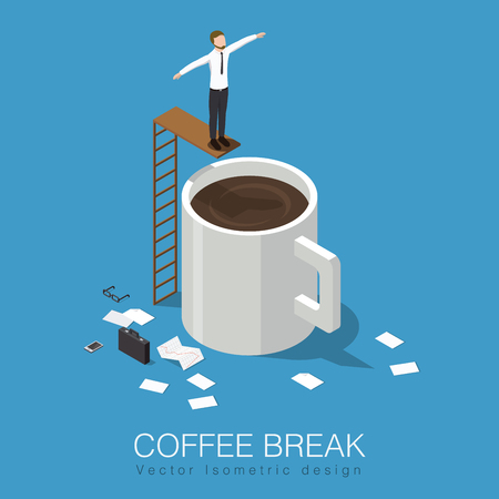 Coffee break isometric concept stock vector illustration. Business man has a break, leaves his case, papers, phone and glasses then jumps to the giant cup of coffee.
