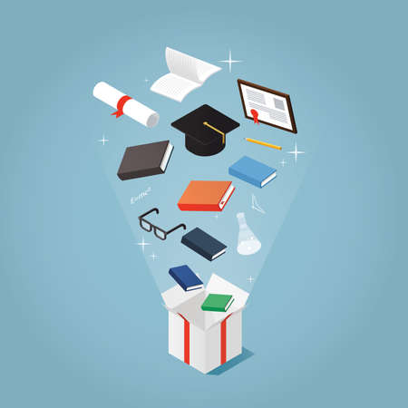 Isometric vector concept illustration of courses and education present. Books, student graduating cap, diploma, glasses, pen, notebook are flying out of a present box package.