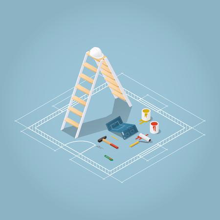 Isométrico ilustración vectorial apartamento renovación de las habitaciones. set caja de herramientas: Modelo del plan de la habitación, con baldes de pintura, rodillo de pintura, casco, martillo, clavos, lápiz cuchillo. La reparación y el concepto de la construcción. Foto de archivo - 69110446