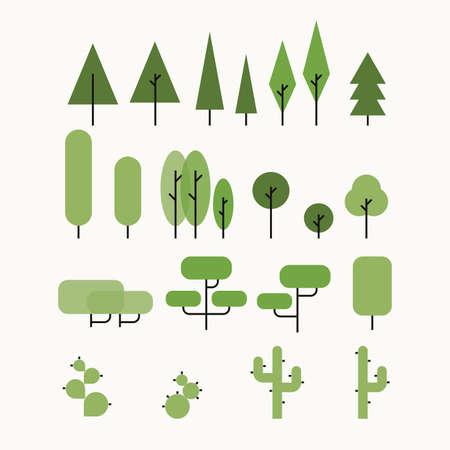 desing: Vector flat tree set. Minimalist retro desing. Illustration