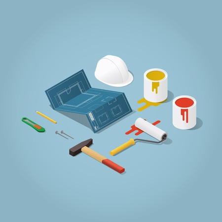 Isometric vector apartment room renovation illustration. Toolbox set: blueprint plan of room, buckets with paint, paint roller, helmet, hammer, nails, knife pencil. Repair and construction concept.