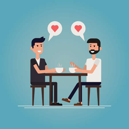 first date concept vector illustration. Two guys meet in cafe after they met on a social network chatting, smiling, drinking coffee and winking to each other, starting new relationship  romance.
