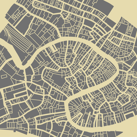 Venice vector map. Monochrome vintage design base for travel card, advertising, gift or poster. Reklamní fotografie - 69110454