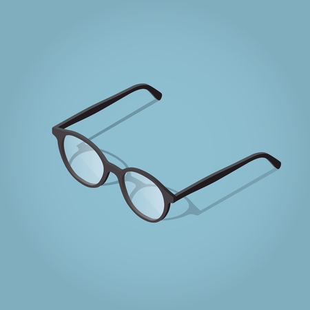ray ban: Isometric vector glasses illustration with shadow for reading.