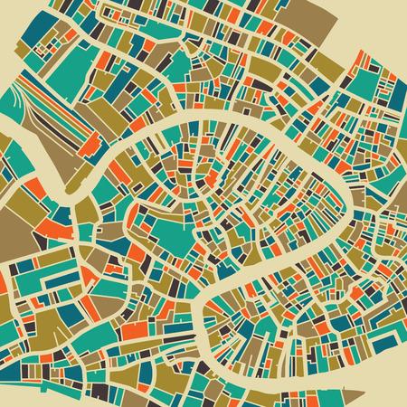 ヴェネツィアのベクター マップ。トラベル カード、広告、ギフトまたはポスターのカラフルなビンテージ デザイン拠点。  イラスト・ベクター素材