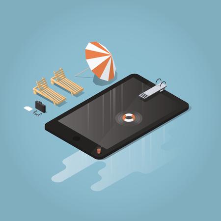 Isometrische Vektor-wasserdichte Gerät Konzept Abbildung. Tablet oder Telefon dargestellt als Pool mit Sprungbrett, Rettungsboje, Solarium, Sonnenschirm, Aktentasche, Brille. Große Wasserpfütze unter dem Gerät