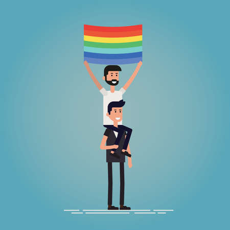 pride concept vector illustration. Two guys are having a good at the pride. One sitting on the shoulders of his boyfriend and holding LGBT flag.