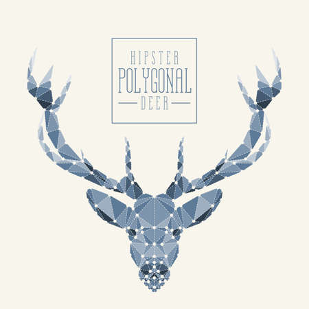 vintage art: Polygonal hipster deer head. Abstract design for your poster, t-shirt, card or web. Filling, dots and dotted line are separately grouped.