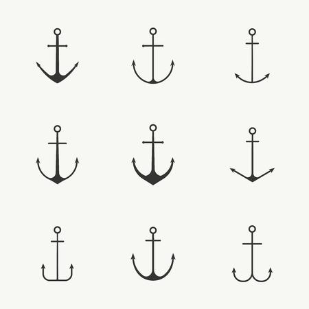 Ancre set illustration vectorielle stock. Ensemble nautique minimaliste de différents types d'ancres. Isolé. Conception marine pour votre affiche de marin, t-shirt, carte ou web.