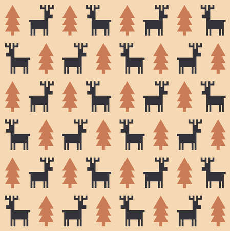 fur trees: Vector seamless pattern with deers and fur trees. Christmas, new year, winter design decoration.