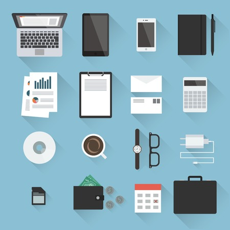 Business desktop objects set in flat style with light shadows: laptop, tablet, smartphone, notebook, envelopes, calculator, paperwork, CD, calendar, adapter, case, purse with money, watches. Top view.