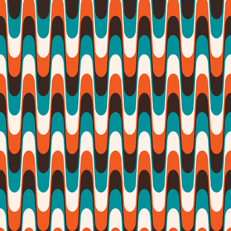 Seamless vintage wavy pattern in mid century style.
