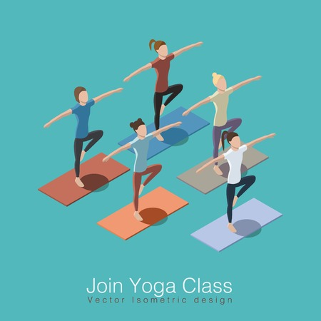 life style: Join yoga class isometric vector illustration concept. Healthy life style. Group of women doing yoga workout at studio with trainer.