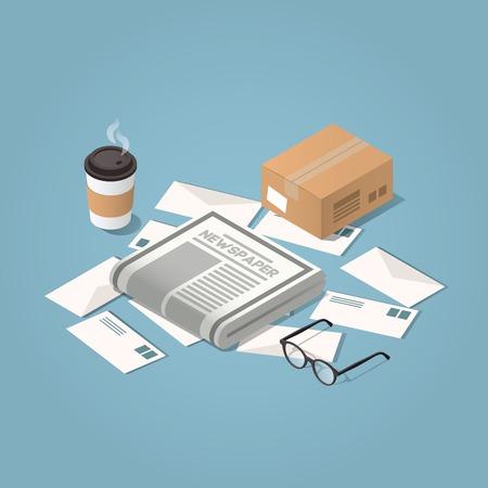 Vector illustration isométrique concept de distribution du courrier du matin. Lettres, journaux du matin, verres, tasse de café chaud, boîte en carton.