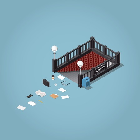 «A morning way to work» - isometric vector illustration. Subway station entrance with lost business men objects - briefcase, paper, glasses, documents, folder, phone, stock infographic. Illustration