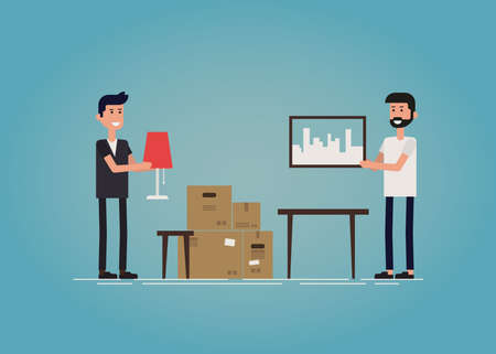 unpacking: Two hipster guys moving to a new house together. Two guys unpacking cardboard boxes and decorating new home together. Flat vector concept illustration. Illustration