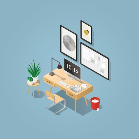 Isometric vector home office concept illustration. Workplace interior set: mid century office table, modern chair, pictures, board, home plants, desktop computer, lamp, trash can, letters, keyboard.
