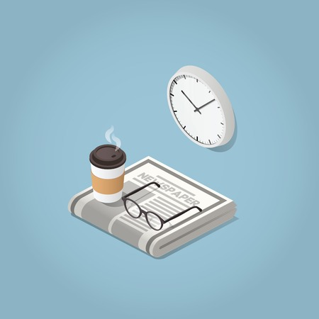 Isometric vector morning newspaper concept illustration. Daily news paper, glasses for reading, wall clock and hot morning coffee. Modern business lifestyle. Illustration