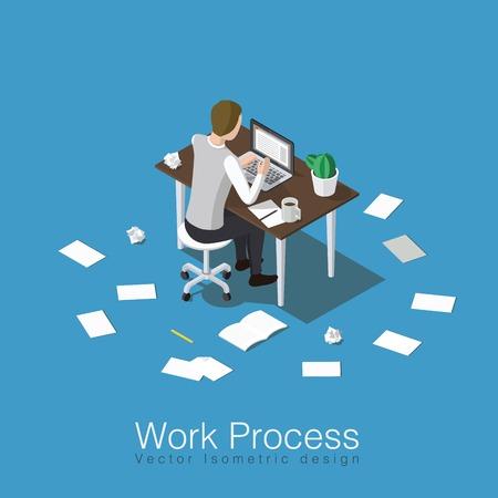 Werkproces concept isometrische vectorillustratie. Beambte die zijn werk doet of student die een bepaald onderwerp bestudeert. Zittend over de tafel met veel papieren rondom.