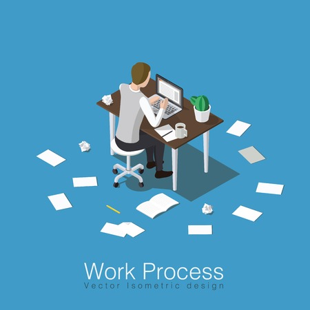 Work process concept isometric vector illustration. Office worker doing his job or student studying some subject. Sitting over the table with lots of papers all around.