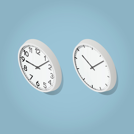 Isometric vector detailed clock illustration. Two modern wall clocks. With and without numbers.