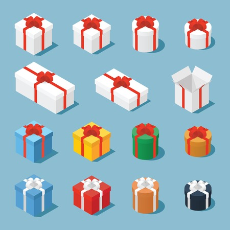 Isometric vector set of gift boxes  presents. Collection of gift boxes with a bows of different type - square boxes, round boxes, opened boxes, and boxes of some different colors.