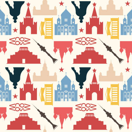 mausoleum: Seamless pattern made of Moscow symbols in vintage colors.