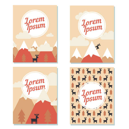 fur trees: Vector christmas cards with snow mountains peaks, fur trees and deers. Flat design for poster, card or web.