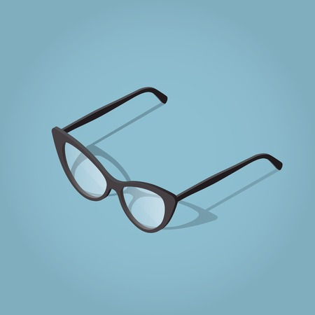 Isometric vector cat eye woman glasses illustration with shadow for reading. Illustration