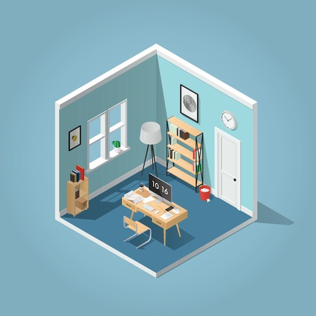 Home office concept isometric vector illustration. Detailed isometric side view interior home office room with bookshelf, desk, clocks, box, chair, books, laptop / computer, papers, coffee cup. Illusztráció