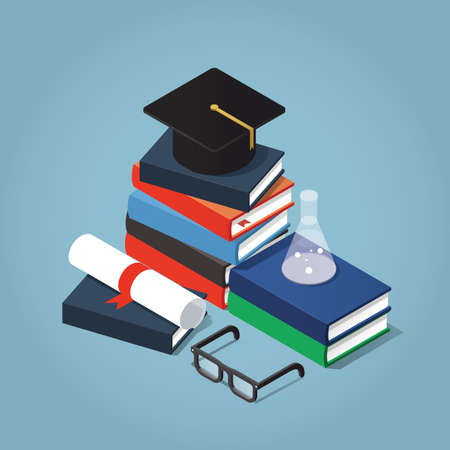 institute: Vector Isometric college  university education concept illustration. Stack of book with a graduating hat, glasses, diploma, and test-tube. Illustration