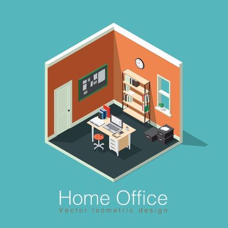 Thuiskantoor concept isometrische vectorillustratie. Isometrisch zijaanzicht interieur kantoor aan huis kamer met boekenplank, bureau, notitiekaart, klokken, doos, stoel, boeken, laptop / computer, papieren, koffiekopje