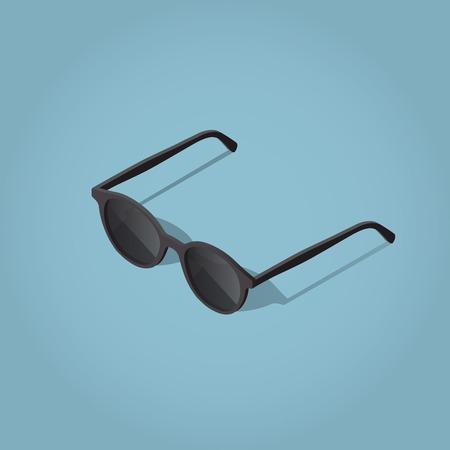 Isometric vector sun glasses illustration with shadow. Illustration