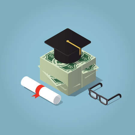 scholarship: Isometric vector illustration of invest in education concept. Graduating cap on a stack of money bills, with glasses and diploma.