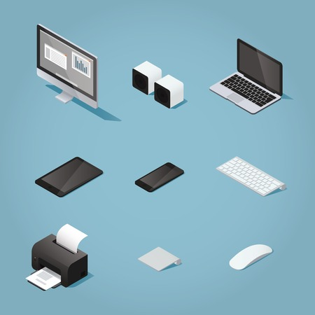 desktop printer: Isometric digital vector objects set illustration. Collection of computers and supplies: desktop, speakers, laptop, tablet, phone, keyboard, printer, trackpad, mouse.