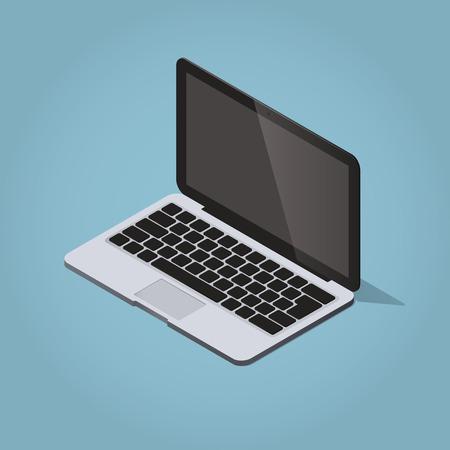 retina display: Isometric vector laptop illustration. Modern realistic desktop computer.