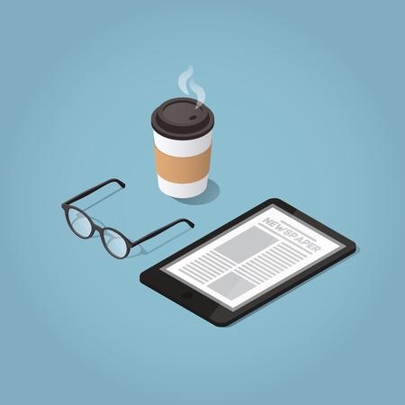 Ilustración del concepto del periódico de la mañana de la mañana del vector isométrico. Tableta con un sitio web de noticias diarias, gafas para leer y café caliente por la mañana. Moderno estilo de vida empresarial. Foto de archivo - 69110560