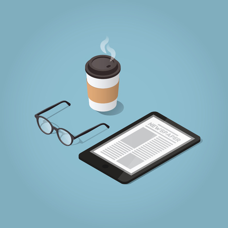 Isometric vector morning digital morning newspaper concept illustration. Tablet with a daily news website, glasses for reading and hot morning coffee. Modern business lifestyle.