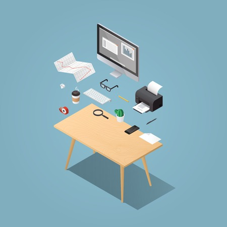 Office workplace vector isometric concept illustration. Work table composition: table, book, desktop, printer, diagram, glasses, papers, coffee, magnifier, phone, pen, keyboard, adhesive tape.