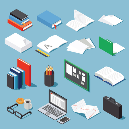 Isometric office tools set: paper, books, folder, pen and pencil, glasses, laptop, case, diagram, open book and notebook and board. Collection for your business/education info graphic or illustration. 免版税图像 - 66814005