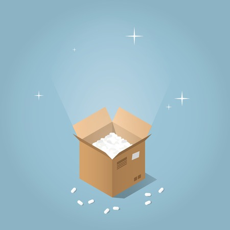 registered mail: Isometric vector mail service concept. Opened cardboard box with glowing light and sparkles from inside. Pieces of filler are over the box. Illustration