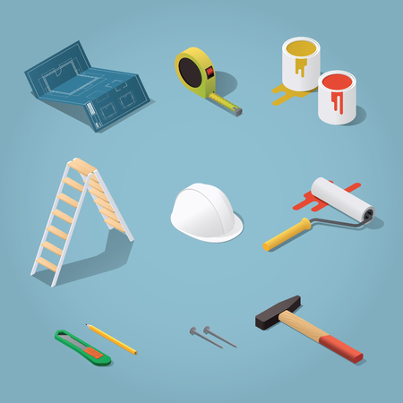 paint roller: Isometric vector renovation tools set illustration. Toolbox: blueprint plan, buckets with paint, paint roller, helmet, hammer, nails, knife, tape-measure, pencil. Repair & construction concept.